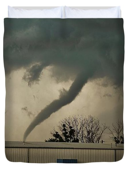 Canadian Tx Tornado Duvet Cover by Ed Sweeney