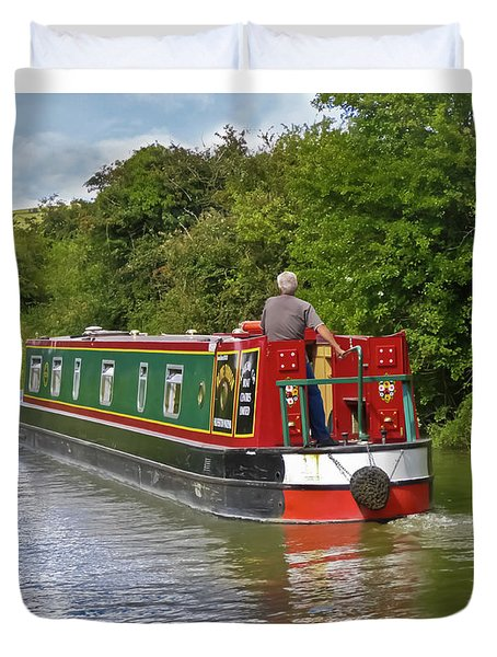 Canal Boat Duvet Cover by Terri Waters