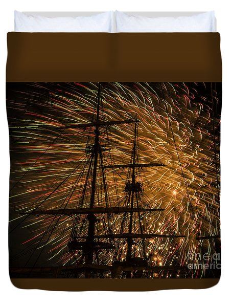 Duvet Cover featuring the photograph Canal Day Fireworks Finale by JT Lewis