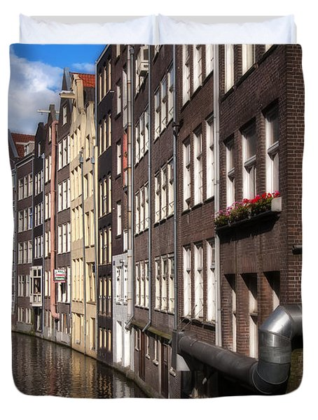 Canal Houses Duvet Cover by Joan Carroll