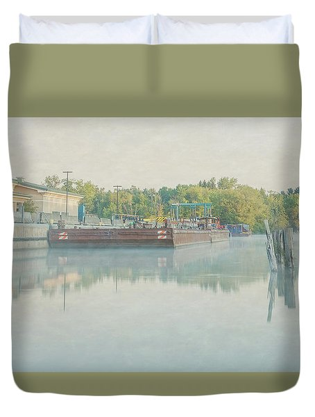 Duvet Cover featuring the photograph Canal In Pastels by Everet Regal