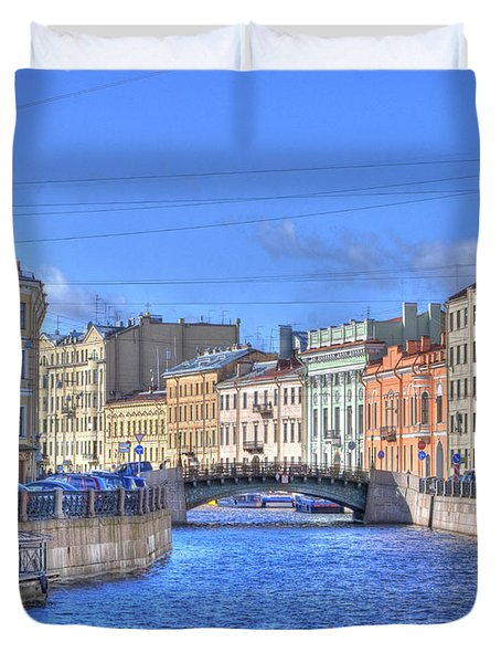 Canal In St. Petersburgh Russia Duvet Cover