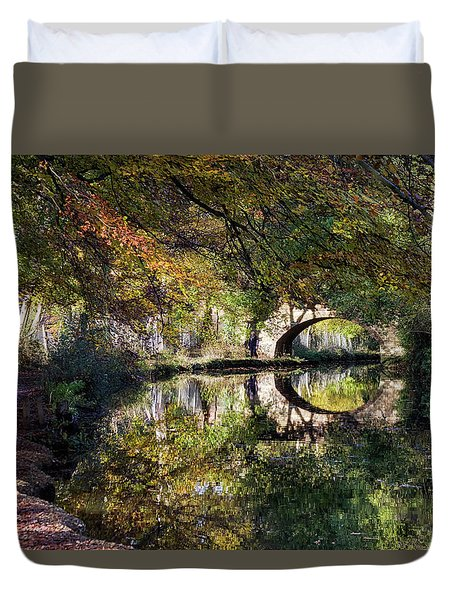 Canal Path In Autumn Duvet Cover