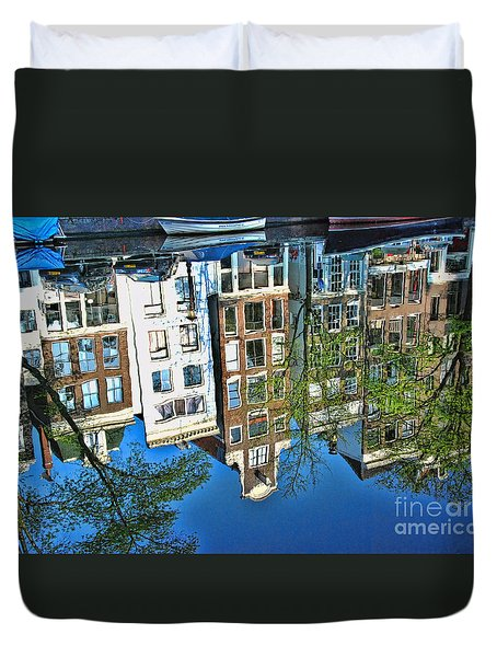 Duvet Cover featuring the photograph Amsterdam Canal Reflection  by Allen Beatty