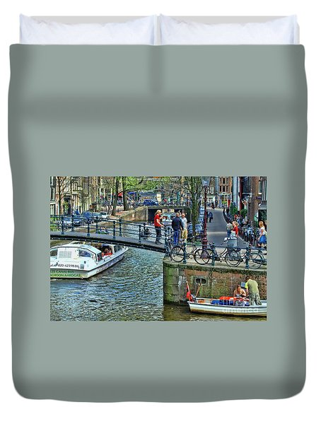 Duvet Cover featuring the photograph Amsterdam Canal Scene 1 by Allen Beatty
