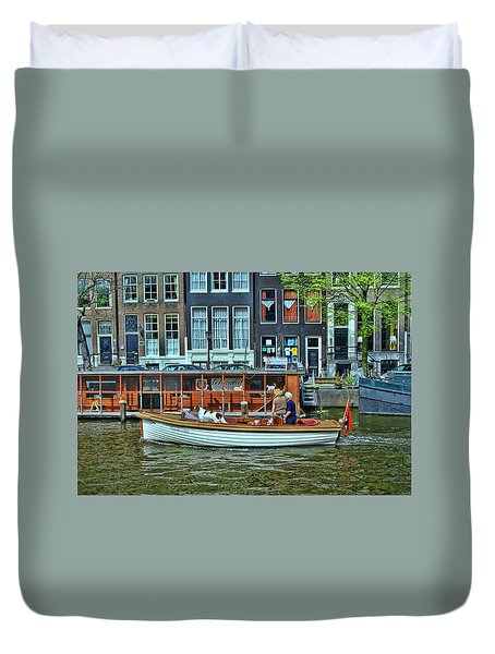 Duvet Cover featuring the photograph Amsterdam Canal Scene 10 by Allen Beatty