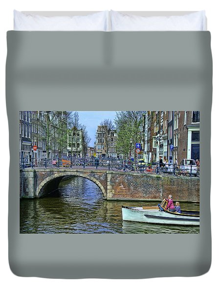 Duvet Cover featuring the photograph Amsterdam Canal Scene 3 by Allen Beatty
