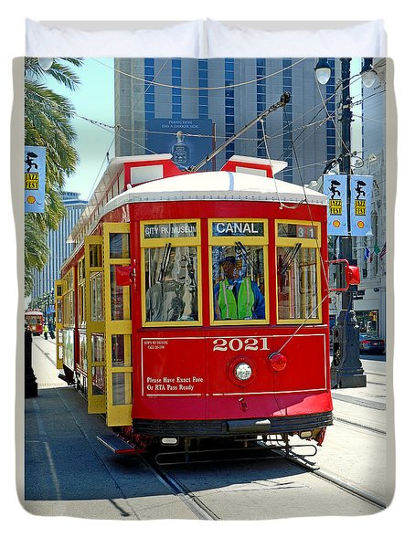 Canal Street Cable Car Duvet Cover