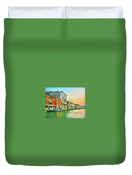 Canal Sunset - Venice Duvet Cover by Tom Cameron