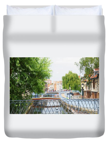 Duvet Cover featuring the photograph Canal View In Amiens by Therese Alcorn