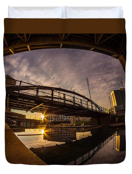 Duvet Cover featuring the photograph Canalside Dawn No 6 by Chris Bordeleau