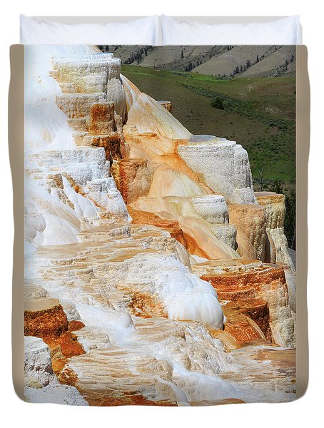 Canary Spring Mammoth Hot Springs Upper Terraces Duvet Cover by Louise Heusinkveld