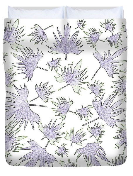 Canary Vine Leaves - Purple And Green Duvet Cover by Sandra Foster