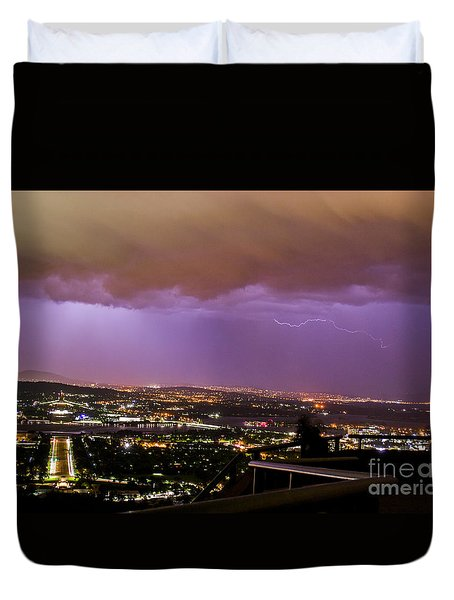 Duvet Cover featuring the photograph Canberra Lightning Storm by Angela DeFrias