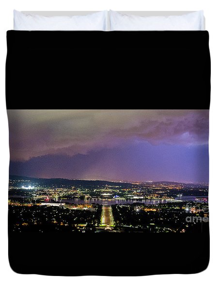 Duvet Cover featuring the photograph Canberra Stormy Night by Angela DeFrias