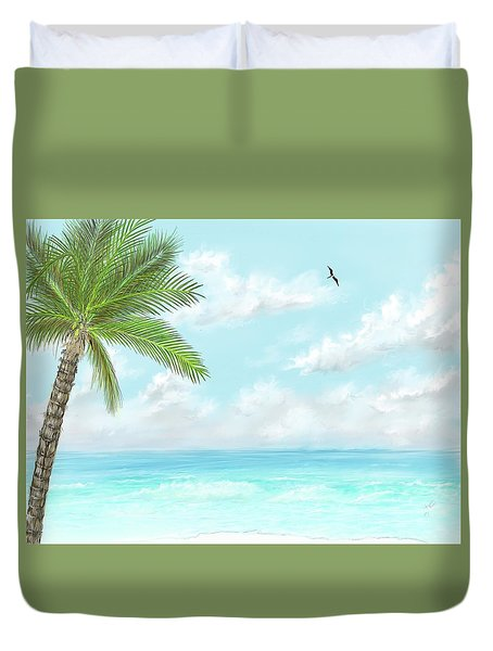 Duvet Cover featuring the digital art Cancun At Christmas by Darren Cannell