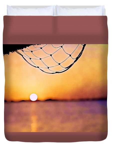 Cancun Sunset On The Lake Duvet Cover