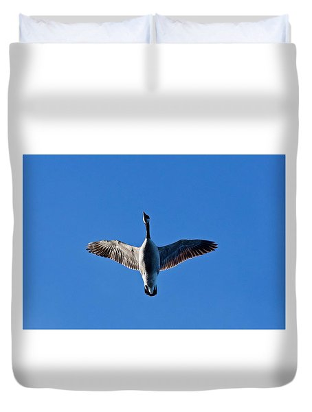 Duvet Cover featuring the photograph Candian Goose In Flight 1648 by Michael Peychich