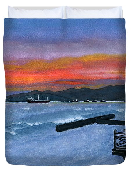 Duvet Cover featuring the painting Candidasa Sunset Bali Indonesia by Melly Terpening