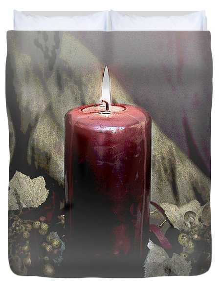 Candle And Glass Grapes Duvet Cover
