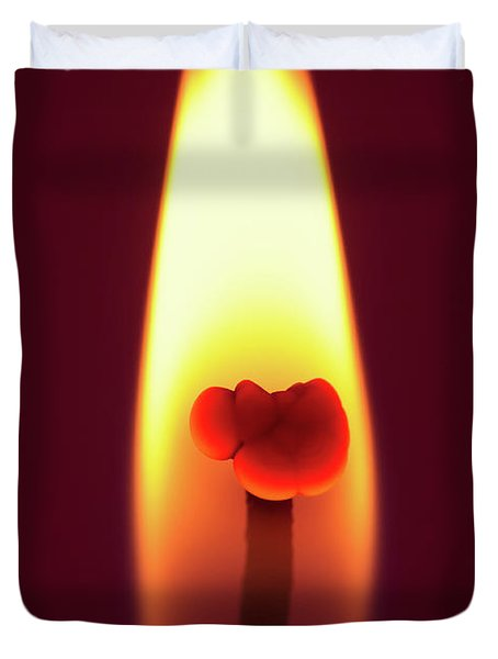 Candle Flame Macro Duvet Cover by Wim Lanclus