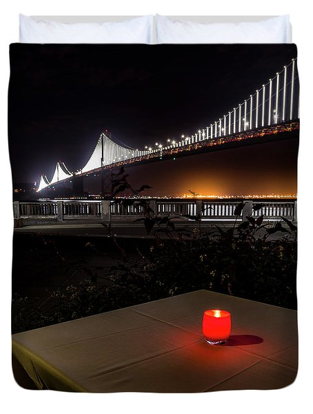 Duvet Cover featuring the photograph Candle Lit Table Under The Bridge by Darcy Michaelchuk