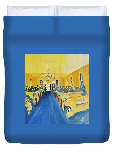 Candlelight Wedding At The Historic Ryssby Church Duvet Cover