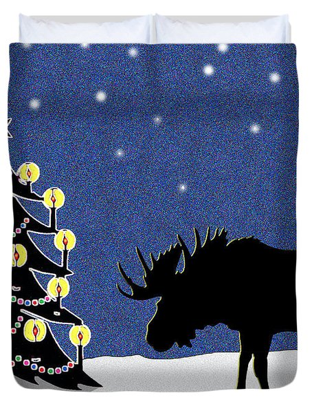 Candlelit Christmas Tree And Moose In The Snow Duvet Cover by Nancy Mueller