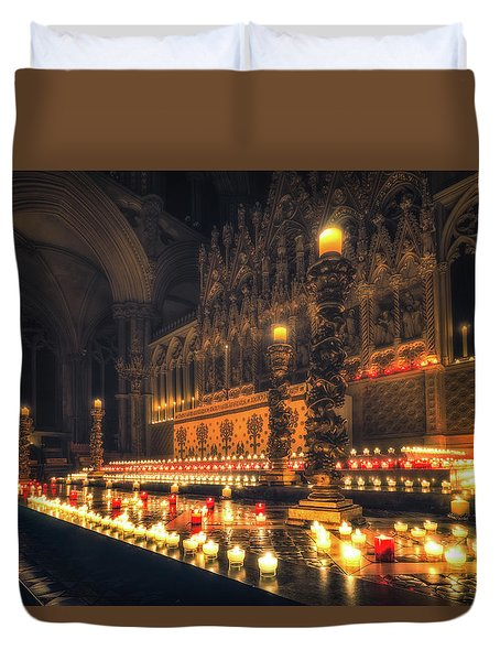 Duvet Cover featuring the photograph Candlemas - Altar by James Billings