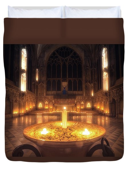 Duvet Cover featuring the photograph Candlemas - Lady Chapel by James Billings