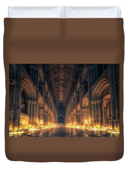 Duvet Cover featuring the photograph Candlemas - Nave by James Billings
