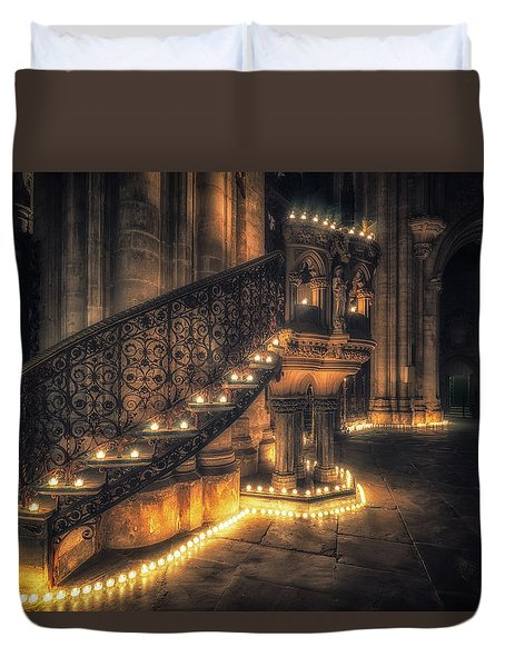 Duvet Cover featuring the photograph Candlemas - Pulpit by James Billings
