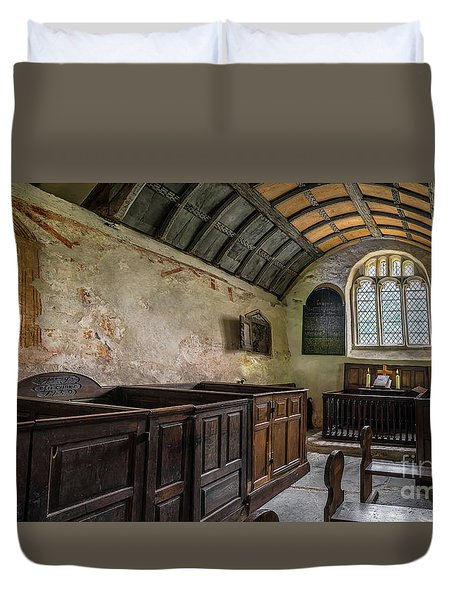Duvet Cover featuring the photograph Candles In Old Church by Adrian Evans