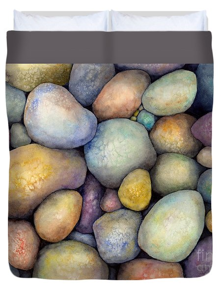 Duvet Cover featuring the painting Rock Candy by Hailey E Herrera