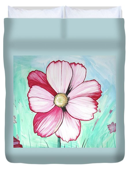 Candy Stripe Cosmos Duvet Cover by Mary Ellen Frazee