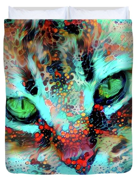 Candy The Colorful Green Eyed Cat Duvet Cover