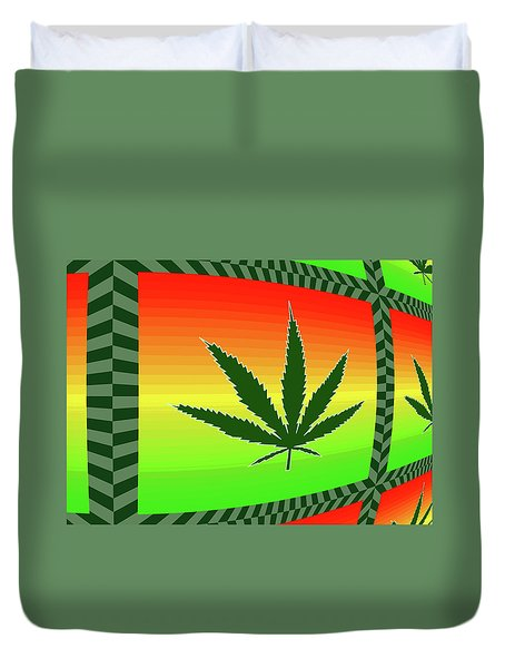 Duvet Cover featuring the mixed media Cannabis  by Dan Sproul
