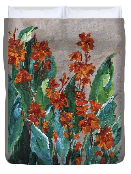 Duvet Cover featuring the painting Cannas by Jamie Frier