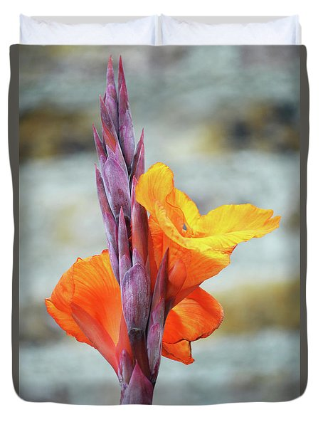 Duvet Cover featuring the photograph Cannas by Terence Davis