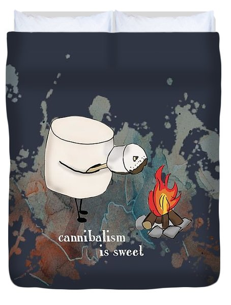 Cannibalism Is Sweet Illustrated Duvet Cover by Heather Applegate