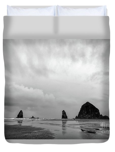 Cannon Beach In Black And White Duvet Cover