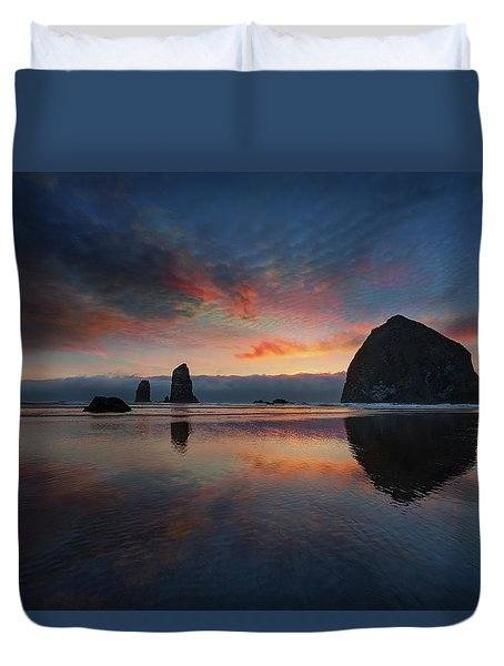 Cannon Beach Sunset Duvet Cover by David Gn