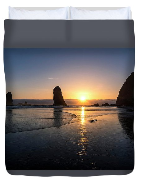 Cannon Beach Sunset Duvet Cover