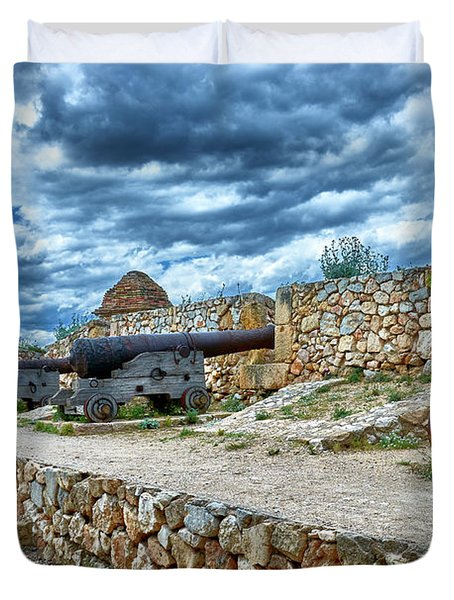 Duvet Cover featuring the photograph Cannons At The Roman Walls Of Tarragona In Spain by Eduardo Jose Accorinti