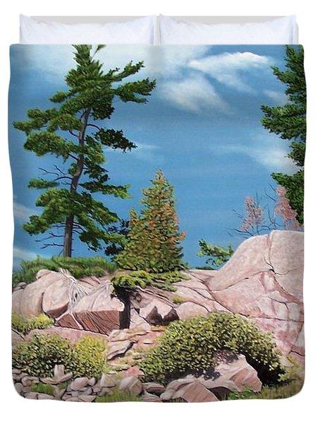 Canoe Among The Rocks Duvet Cover