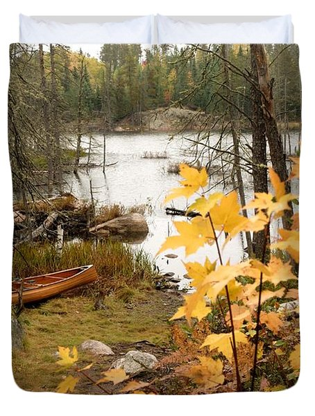 Canoe At Little Bass Lake Duvet Cover