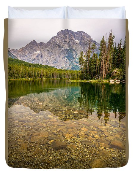 Canoe Camping In The Teton Range Duvet Cover by Serge Skiba