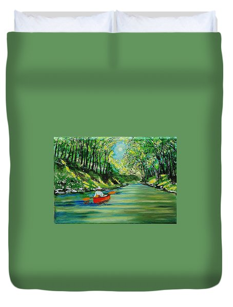Canoe Cruising Duvet Cover by Mike Caitham