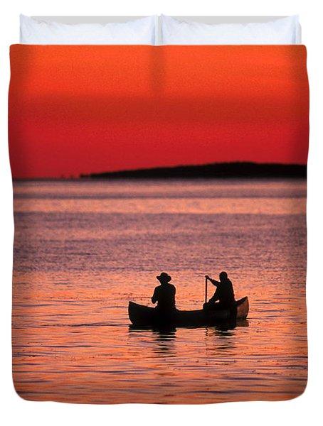 Canoe Fishing Duvet Cover by John Greim