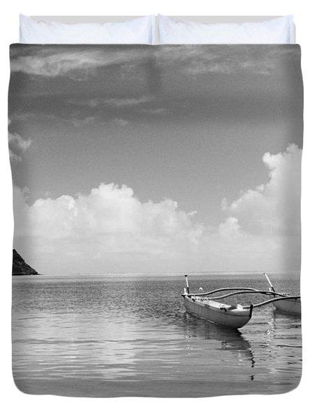 Canoe Landscape - Bw Duvet Cover by Joss - Printscapes